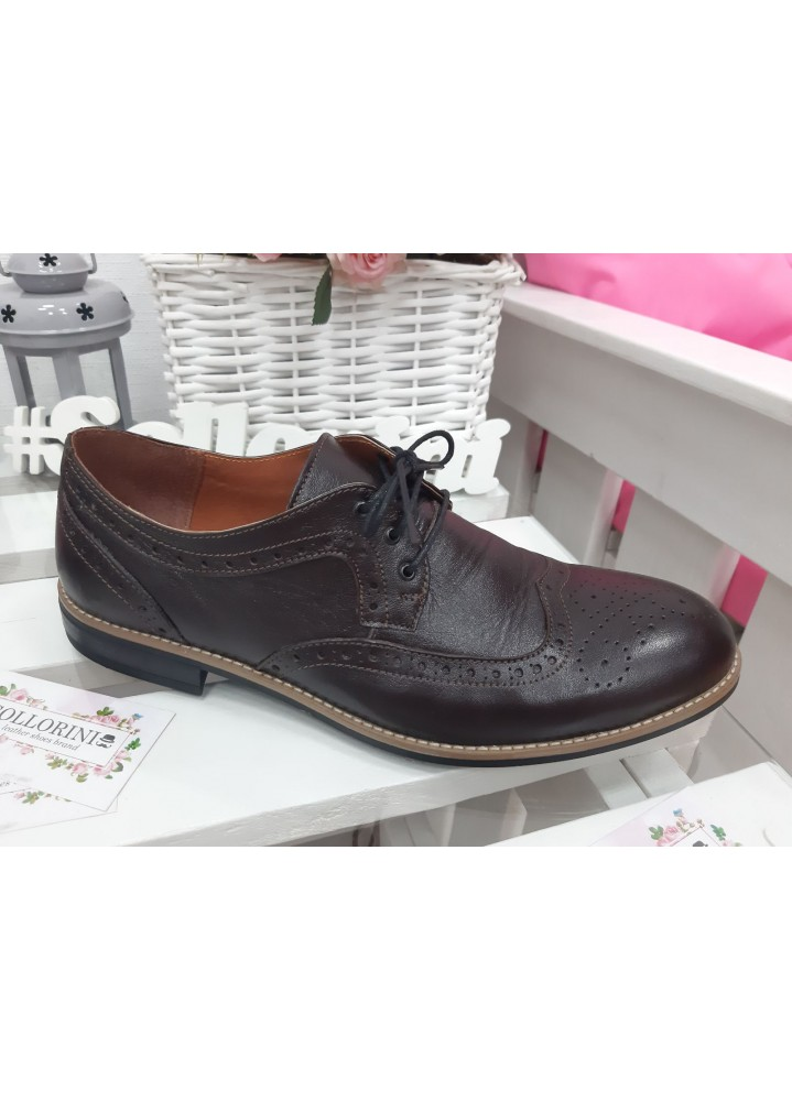 Мужские туфли Оксфорды коричневые 7197-28