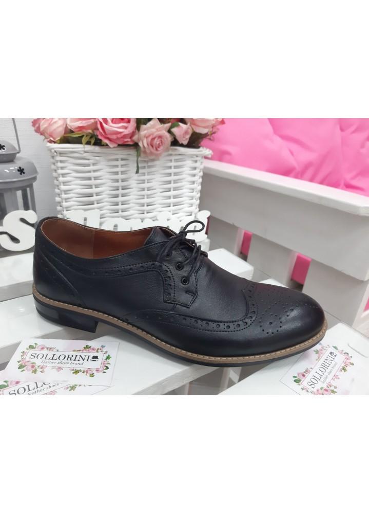 Мужские туфли Оксфорды черные 7195-28