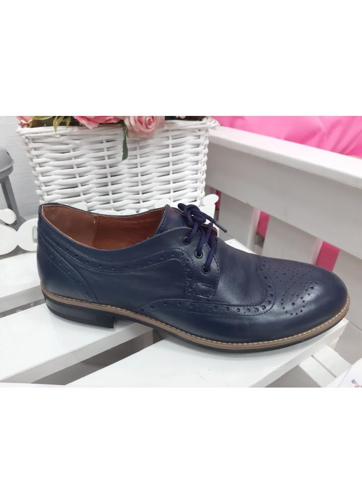Мужские туфли Оксфорды синие 7196-28