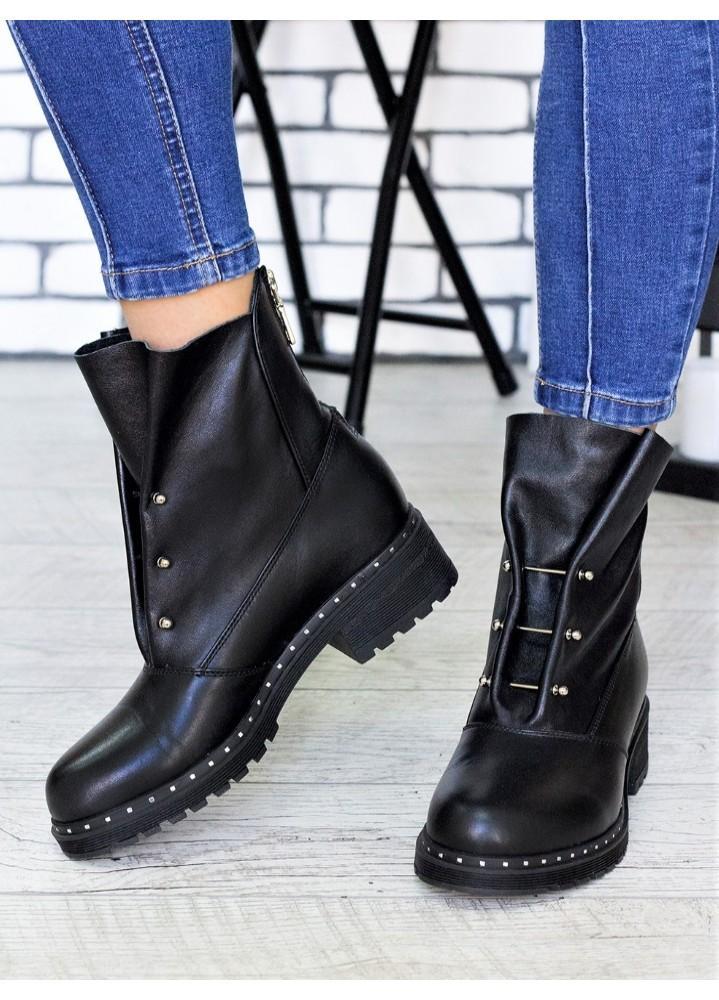 Ботинки Bruck чорна шкіра 6699-28