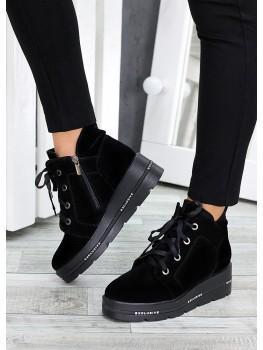 Ботинки на платформе черная замша 7511-28