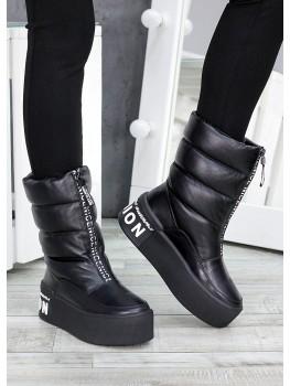 Зимові ботинки дутики шкіряні 7513-28