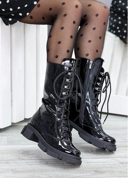 Високі ботинки на шнурівці лак шкіра 7514-28