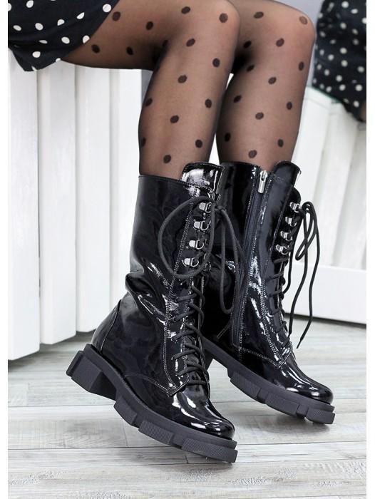 Высокие ботинки на шнуровке лак кожа 7514-28