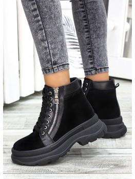 Ботинки черная замша Aleksa 7520-28