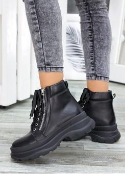 Ботинки чорна шкіра Aleksa 7523-28