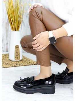 Зимові хутряні туфлі лак-шкіра 7582-28