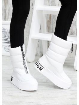 Зимние белые ботинки дутики кожа 7583-28