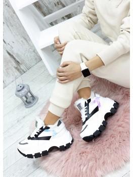 Зимові білі кросівки з хутром шкіра 7584-28
