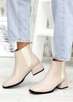 Ботинки шкіряні челсі беж 7594-28
