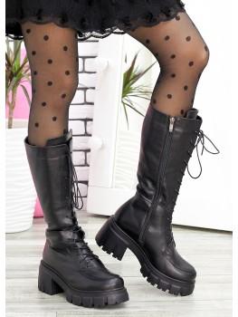 Ботинки високі на шнурівці шкіра 7596-28