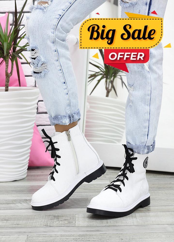Ботинки на шнурівці біла шкіра 7621-28