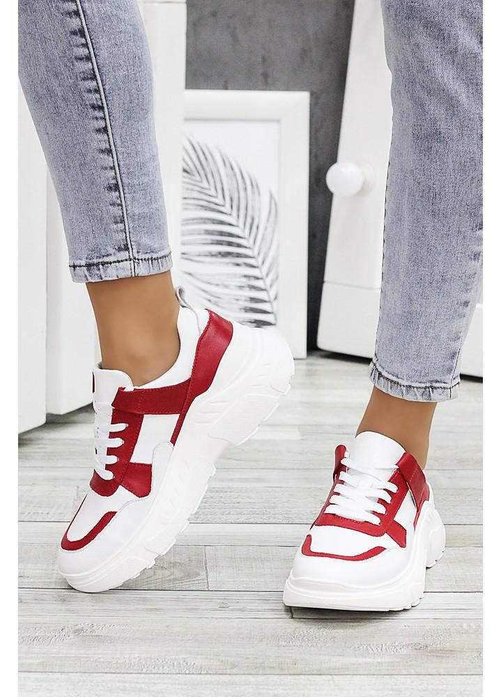 Кросівки шкіра Balenc!аga біло-червоні 6995-28