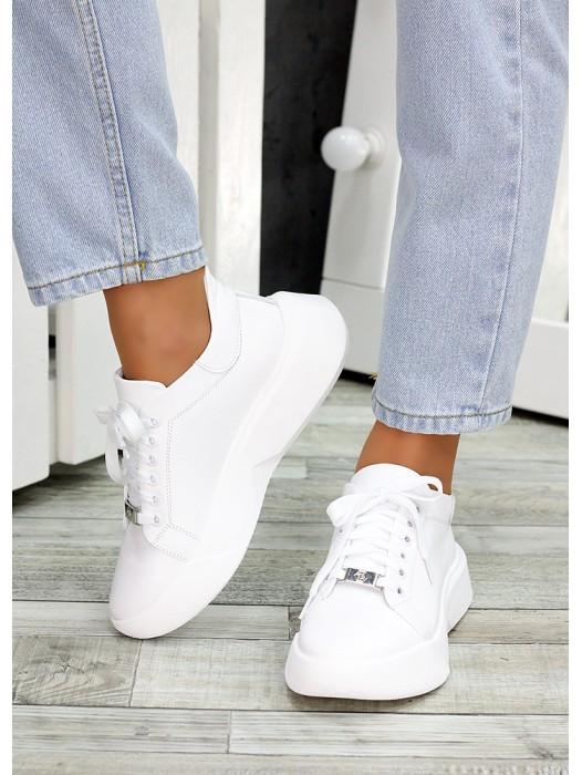 Кожаные белые кроссовки 7478-28