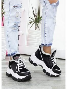 Зимові чорні кросівки з хутром шкіра 7629-28