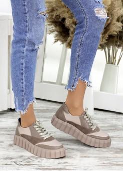 Кросівки шкіра Zipper беж 7670-28
