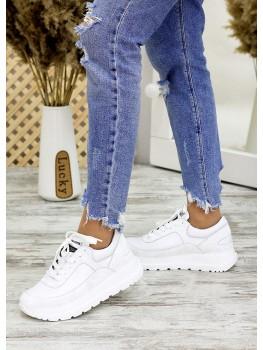 Білі шкіряні кросівки 7701-28