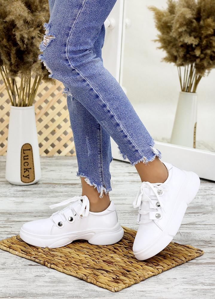 Кроссовки кожаные белые 7703-28