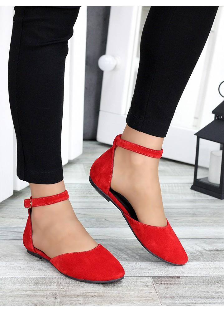 Туфли Алиса красная замша 7421-28