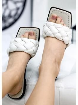 Шльопанці шкіряні білі 7735-28