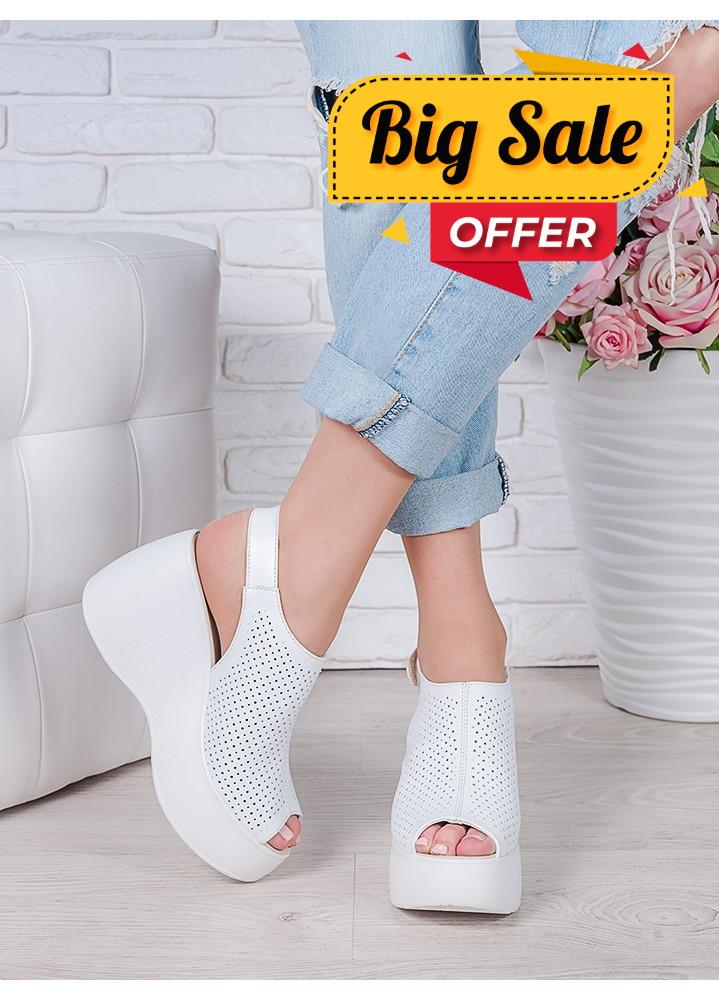 Босоніжки шкіряні білi Амелі 7058-28
