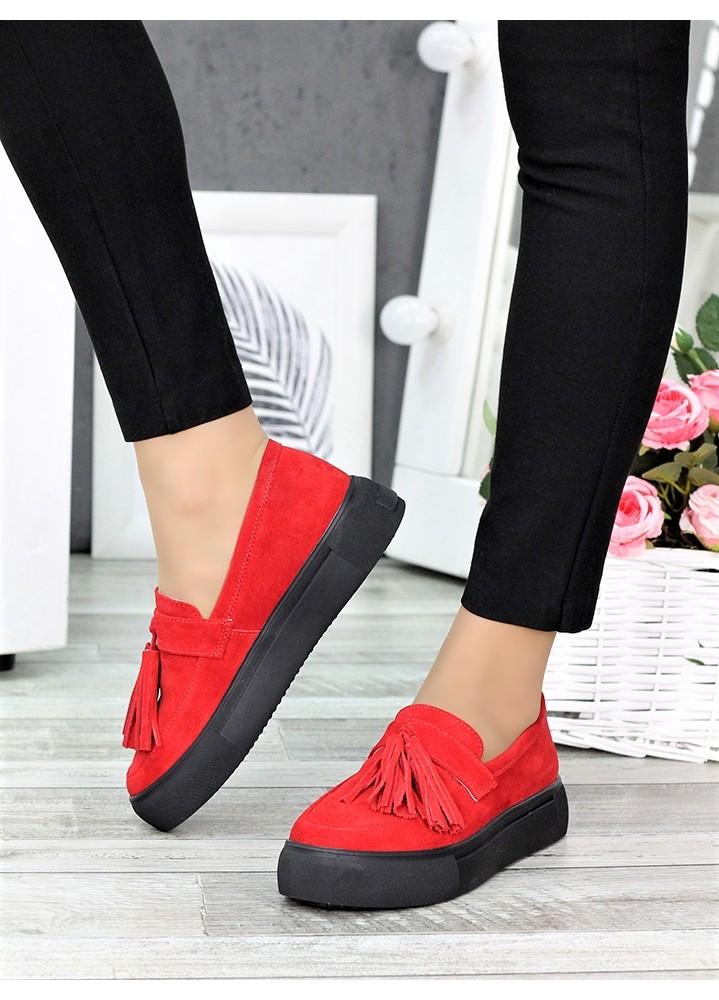 Туфли лоферы красная замша 7272-28