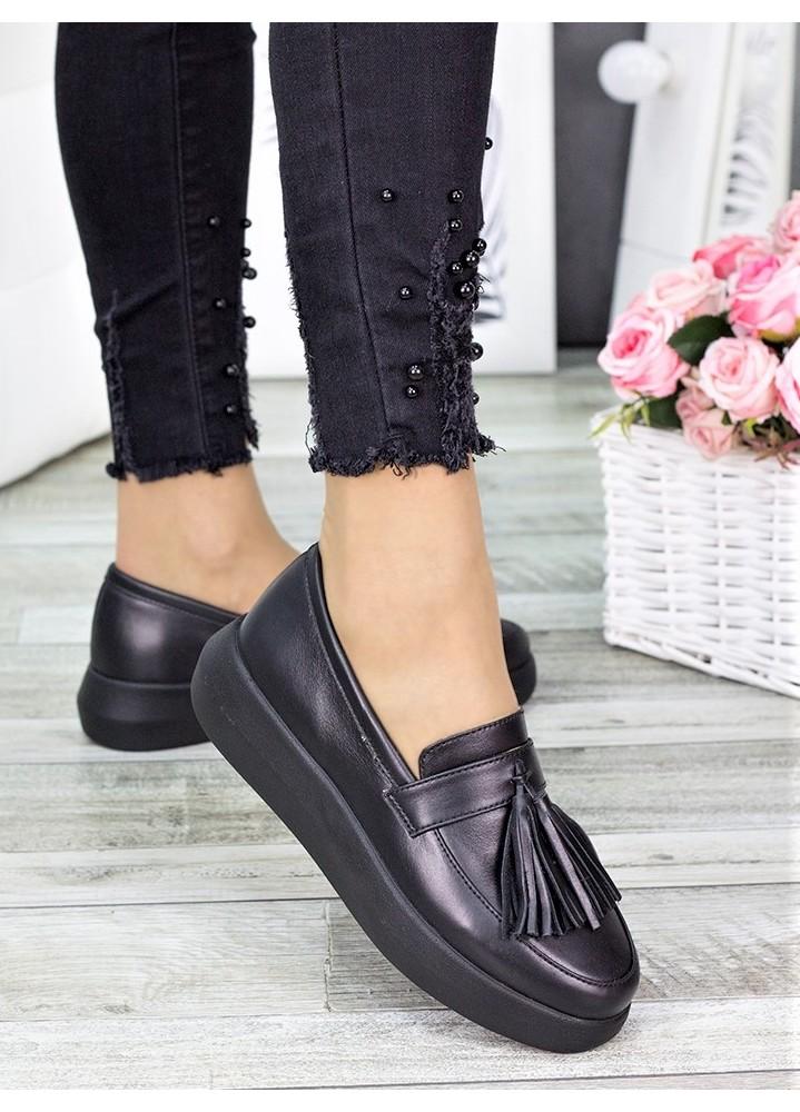Туфли лоферы черная кожа 7279-28
