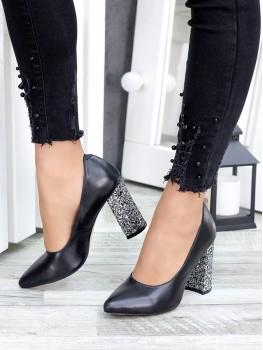 Туфлі на каблуцi чорна шкіра блискітки 7441-28