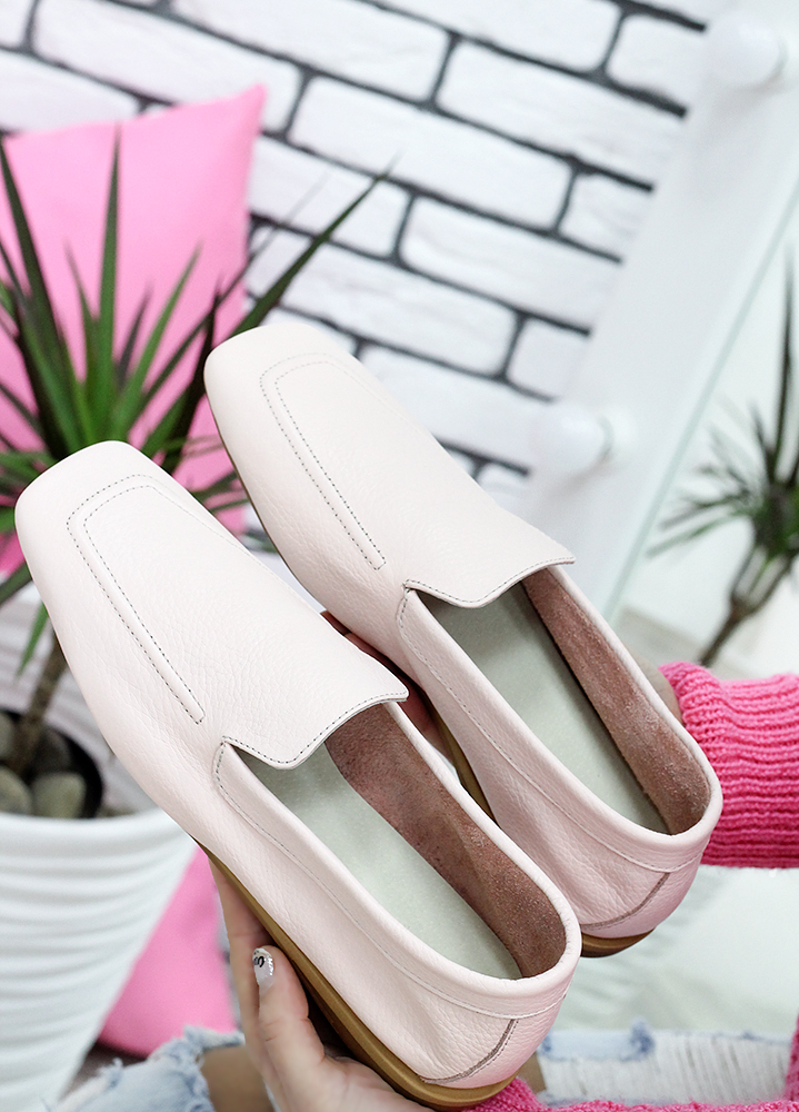 Туфли мокасины пудра кожаные 7624-28