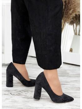 Туфлі на каблуці чорна шкіра хакі 7697-28