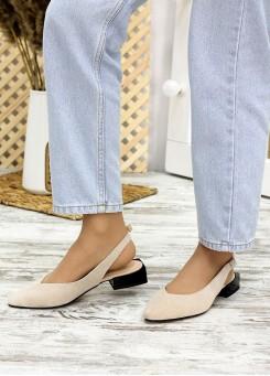 Туфли босоножки латте замша Rose 7709-28