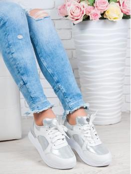 Кросівки Alika білий + срібло шкіра 6250-28