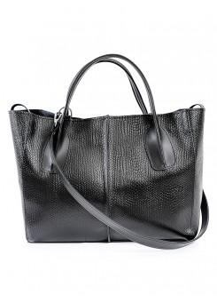 Шкіряна сумка чорна Monika 6688-11