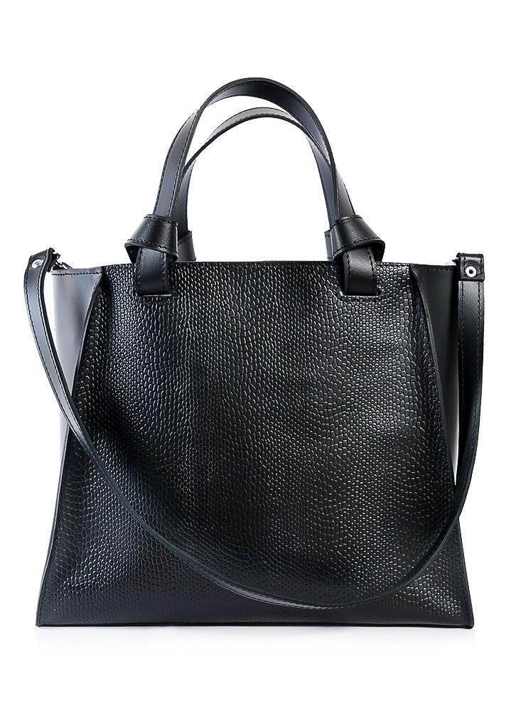 Шкіряна сумка чорна Classik 6693 -11