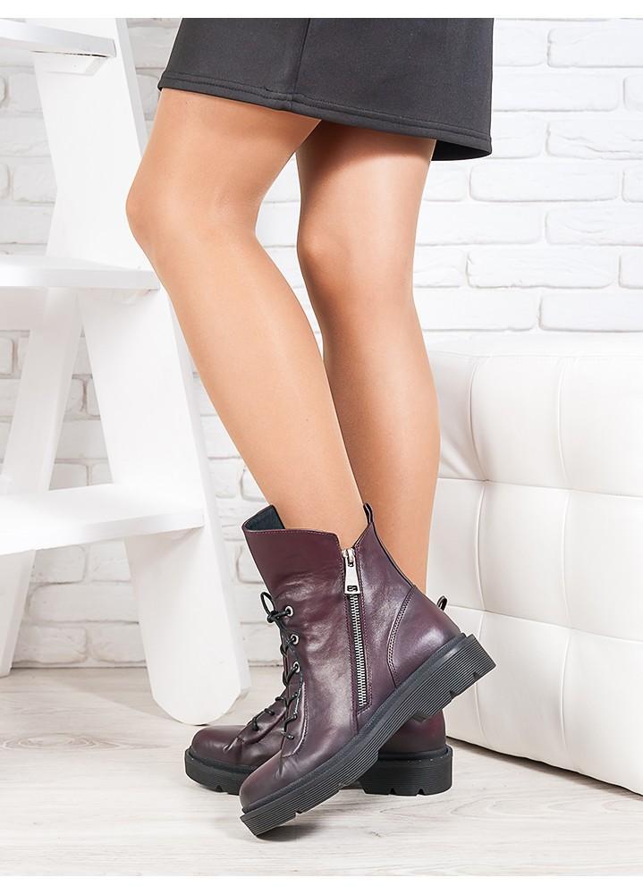 Ботинки Angelina бордо кожа 6721-28
