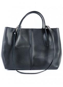 Шкіряна сумка чорна Lux 6759-11