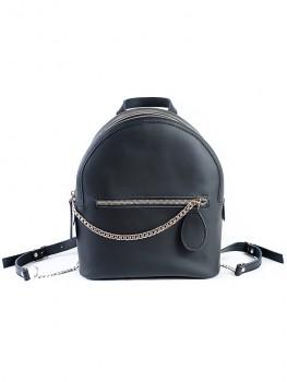 Шкіряний чорний рюкзак 6763-11