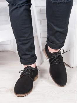 Мужские замшевые черные туфли 6880-28