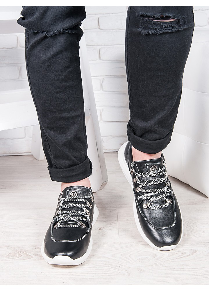 Мужские кожаные кроссовки т.синий 6891-28
