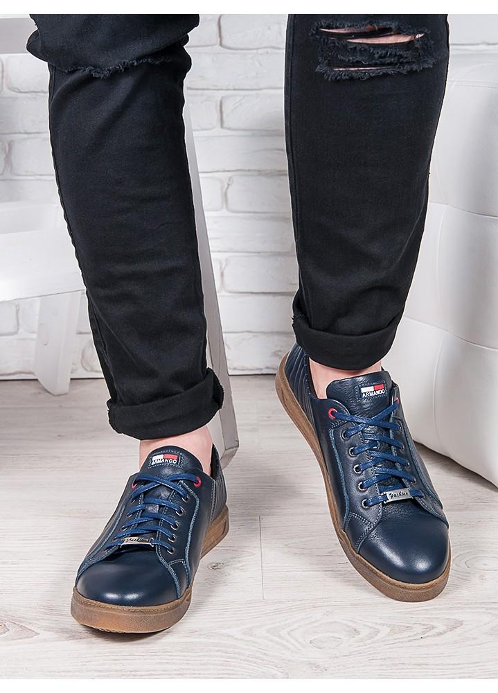 Мужские кожаные кеды т.синий 6903-28