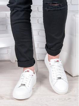 Мужские белые кожаные кеды 6906-28