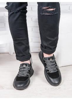 Чоловічі чорні шкіряні кросівки 6912-28