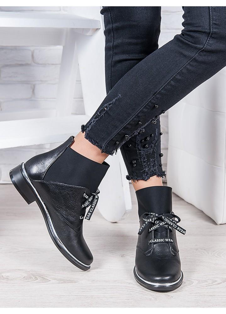 Ботинки кожаные черные Элиза 6948-28