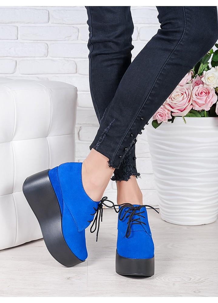 Туфли на высокой платформе электрик замша 7020-28
