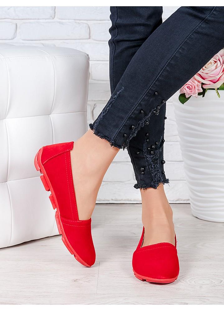 Туфлі мокасини червона замша 7025-28