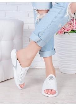 Шлепанцы белые кожаные 7066-28